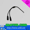 Fone de ouvido dc 3,5mm duo plug rj11 adaptador fio rj11 adaptador de plugue do cabo para o telefone do call center