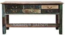 recuperada la consola de mesa de madera recuperada de la consola de mesa de madera recuperada tallada consola de mesa