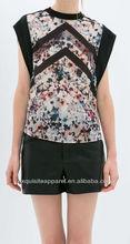 Las mujeres blusa/gasa blusa de las mujeres/malla de inserción de las mujeres blusa/manga corta blusa de las mujeres