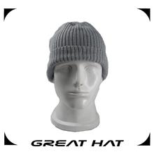 2014 invierno moda gris alta calidad acrílico gorrita tejida de punto sombrero