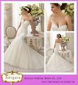 2014 nueva llegada blanco elegante novia sirena de espalda de encaje de cuentas blusa larga falda de organza de novia vestidos d