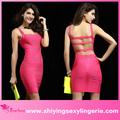 venta al por mayor nuevo tramo charminggirl bodycon vendaje en vestido de color rosa rojo vestido de vendaje