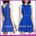 las mujeres de moda azul real del hombro remache vestido corto puffy vestido de fiesta