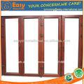 de aluminio compuesto de madera acordeón puerta corredera con doble cristal galss