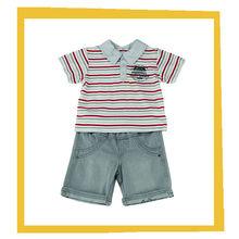 2014 de moda de alta calidad a juego juegos de ropa niños raya camisa de polo camisetas con pantalones de verano