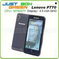 Las ventas caliente de alta calidad de lenovo p770 smartphone 6577 mtk de doble núcleo android os 4.1.1 4.5 ips pulgadas pantalla 1gb ram 4gb rom sim dual.