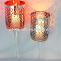 Bonito mosaico de vidrio verde candelabro, candelabros, copa