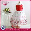 2014 fashional y hermoso vestido de rojo y blanco niña de las flores