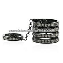 Allanar diamantes 925 de plata de ley berbere de banda del anillo, venta al por mayor de joyería
