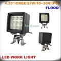 las luces led para 24v 27w camiones led de la lámpara de trabajo cuadrado negro a prueba de agua de alta una larga vida útil