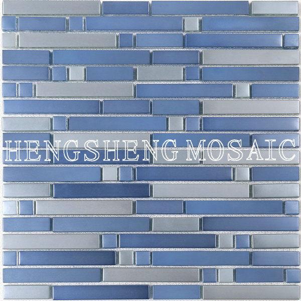 Azulejos Para Baño De Cristal:Mat Azul de lujo del vidrio cristalino del mosaico de azulejos de