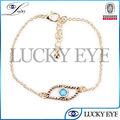 Diseño de moda 2014 oro meatl diamante pulsera mal de ojo al por mayor de la fábrica