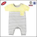 Bebé mameluco manga corta los patrones de tejido de punto, bebé raya mameluco del bebé al por mayor de ropa