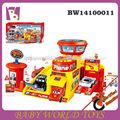 Estacionamento com brinquedo puxar carros para crianças, plástico carro de garagem de brinquedos