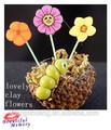Casa de muñecas en miniatura 1/12scale artificiales de arcilla florero de flores