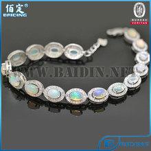 2014 presente de Natal de lei 925 pulseiras mulheres pedra opala natural de diamante de prata do casamento