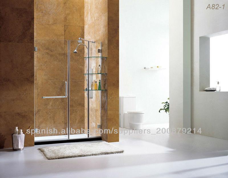 Con estante de vidrio sin marco puerta de la ducha - Estante para ducha ...
