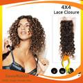 Envío gratis profundo rizado de encaje de cierre virgen cabello humano brasileña cierre 4*4 parte libre de cierre superior