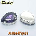 amatista 10x14mm lágrima de cristal piedras para la decoración de la ropa