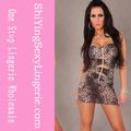 nuevo diseño de venta al por mayor sexy dama vestido de leopardo negro gótico vestido de látex