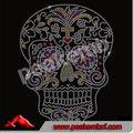 2014 nuevas transferencias del cráneo del caramelo del día de los muertos de Diamante del Rhinestone Transferencia Iron On prens