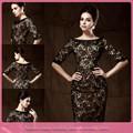 dl680 sexy de encaje negro corto longitud vestidos formales de oficina para las mujeres