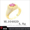 Ruby piedra principal, cz piedra pequeña, anillo de plata