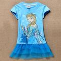 2014 moda las niñas congelados los niños vestido de ropa de bebé de la princesa de encaje vestidos de patchwork 6 pcs/6380 pack
