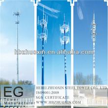 directa de la fábrica de telecomunicaciones tubular galvanizado poste de la antena