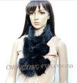 Cx-s-58 de punto negro de piel de visón bufanda de moda para dama