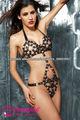 Lencería erótica de vestido de peluche con correas de cuero combinado con anillos