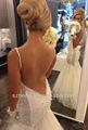 Jm. Bridals cy2060 sexy backless sereia cintas de espaguete frisada tulle vestido de casamento alibaba 2014