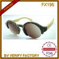 fx196 redondo moldura de madeira óculos de sol com bambu templo autheatic atacado designer de óculos de sol
