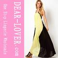 novo design por grosso amarelo e preto vestido maxi