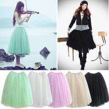 las mujeres de la princesa de hadas estilo 3 capas velo de tul de falda maxi bouffant hinchada de moda llena de largo 5174 falda
