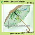 tela doble paraguas de madera con impresión a todo color en el interior