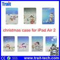 Para iPad Air 2 estuche, Lindo Navidad dibujo de muñeco de nieve forro para iPad Air 2, Paypal aceptado