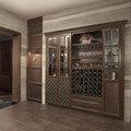 2014 nuevo diseño baratos antiguos de madera del vino vitrina de vidrio