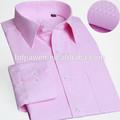 La primavera 2014 popelina hombres de color rosa de manga larga camisa formal, camisa para hombre