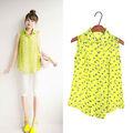 2014 las mujeres de primavera y verano sin mangas de estilo coreano beso de impresión lindo dulce camisas blusas de gasa 6755