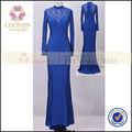 CY71490 largo elegante royal blue árabe patrones de encaje de cuello alto vestido de noche de manga larga