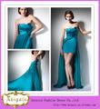 alta qualidade novo modelo made in china formal strapless azul traseira curta longa ruched avant- garde vestidos de noite(yw327)