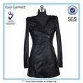 Negro de la pu de las señoras trinchera abrigo, la longitud total abrigo de cuero para las mujeres