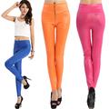 las mujeres de cremallera de alta cintura elásticos flaco brillante leggings pantalones slim fit medias