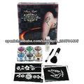 2013 nuevo kit del tatuaje del brillo de la llegada de 6 colores / cepillos / cola / tatuaje temporal plantilla