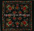 Negro flamenco español piano chal de de manton de manila- 100% hecha a mano chino de seda bordado- 135cm