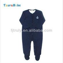 Azul marino 100% del algodón de la marca del bebé del mameluco del mono