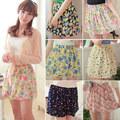 chicas calientes retro de alta de la cintura plisada floral pura gasa corto mini vestido de falda