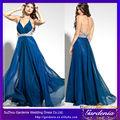 Um- linha de alcinhas azul royal frisada chiffon adulto vestido de festa