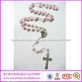 de moda de alta calidad de las perlas de color rosa rosario plástico religiosa XWX-2262